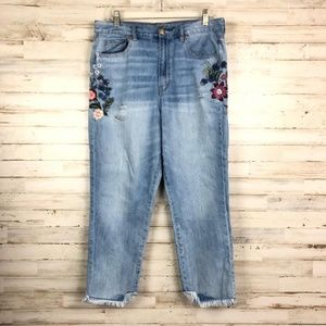 Beautiful American Eagle embroidered mom jean
